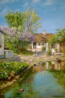 Spring day at a thatched house with blooming lilacs_1925 г. х.м.40х60,